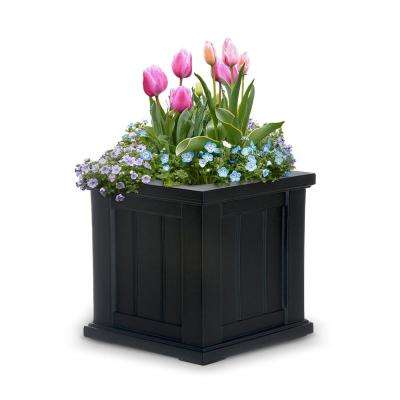 Cape Cod 14 in. Square Black Plastic Planter