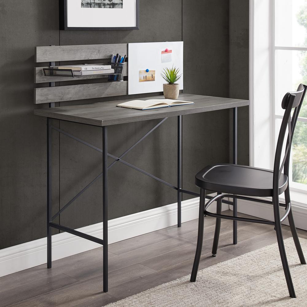 Grey Wash Modern Writing Desk With Slat Back Adjustable Storage