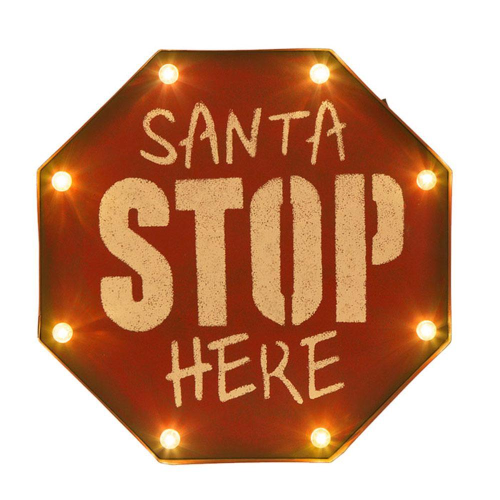 Marquee Santa STOP Sign