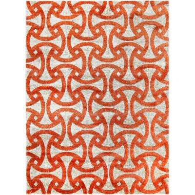 Tanja Jace Orange 3 ft. 10 in. x 7 ft. 2 in. Indoor Area Rug