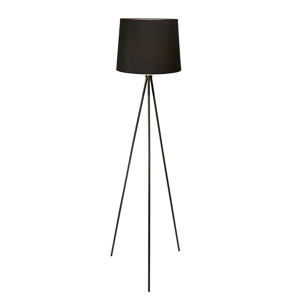 Newhouse Lighting 58 in. Black Tripod Floor Lamp With Black Lamp Shade and E26 Light Socket