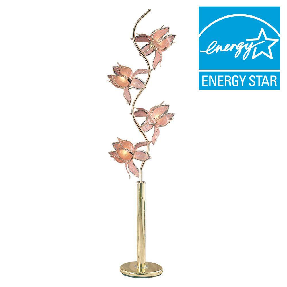 Ore international 73 in pink and gold floor lamp k9334g for Pink floor reading lamp