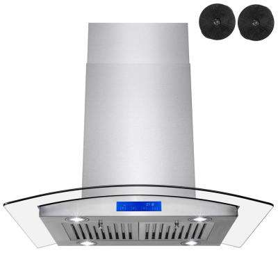 30 in. Convertible Island Mount Range Hood in Stainless Steel with Tempered Glass, Touch Control and Carbon Filters