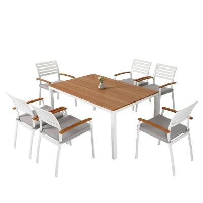 7-Piece Aluminum Polywood Outdoor Dining Set with Creamy White Cushions