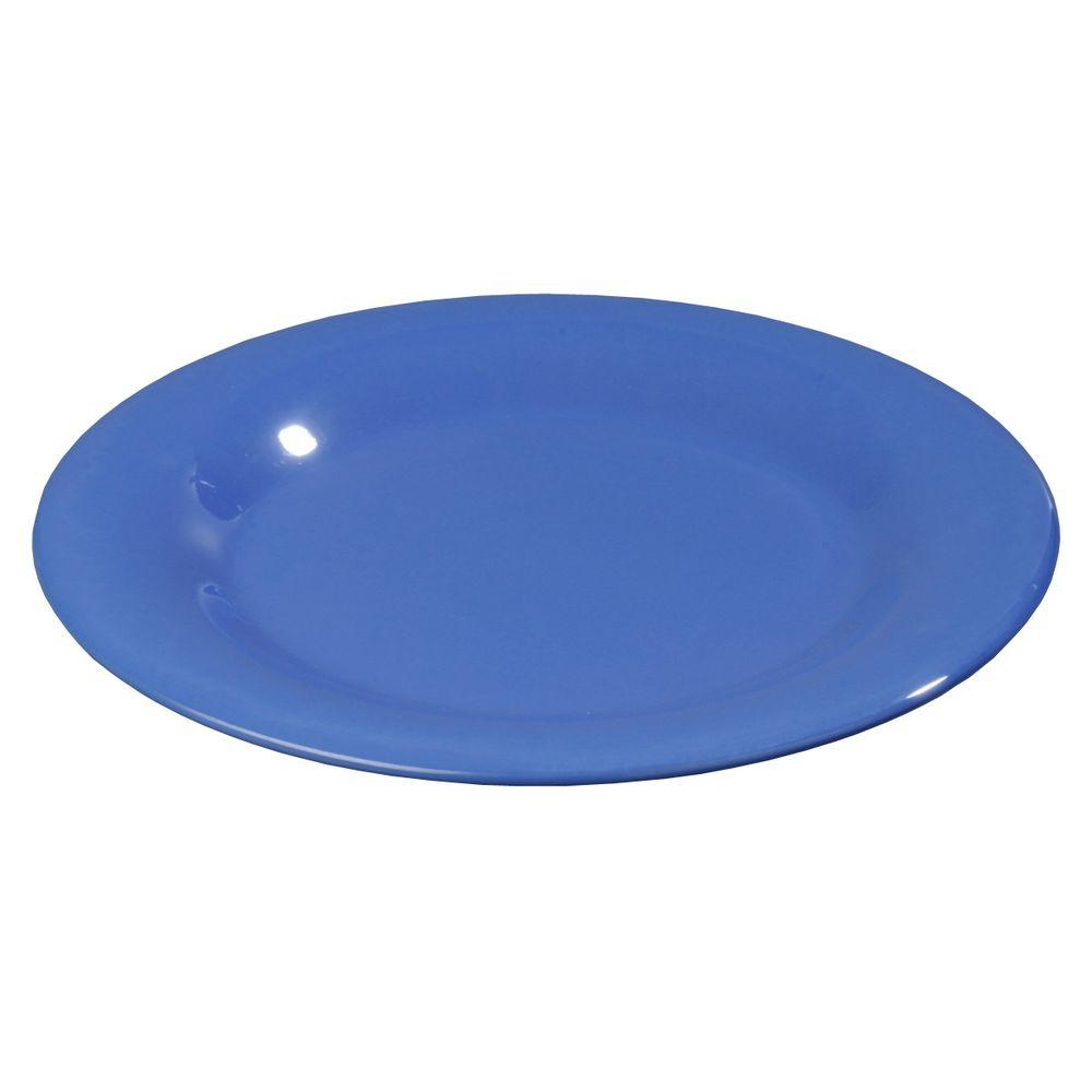 12 in. Diameter Melamine Wide Rim Dinner Plate in Ocean Blue