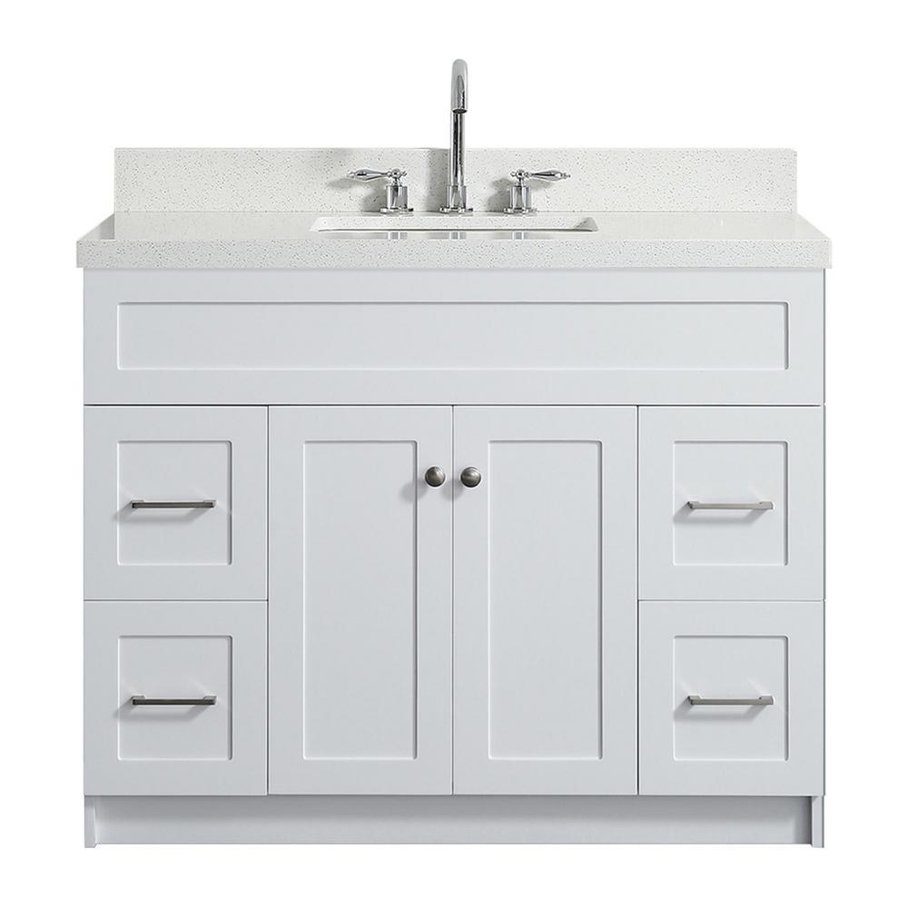 Hamlet 43 in. Bath Vanity in White with Quartz Vanity Top in White with White Basin