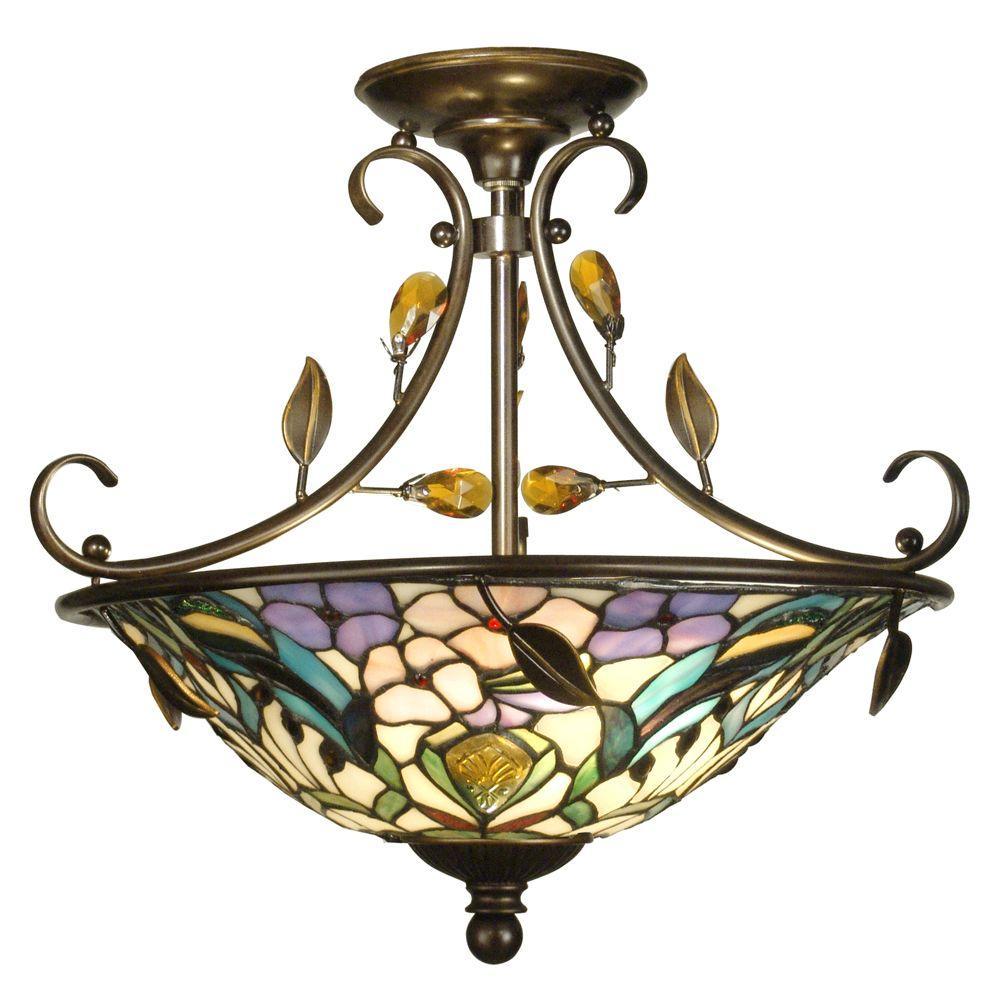 Peony Crystal 2-Light Antique Golden Sand Semi-Flush Mount Light