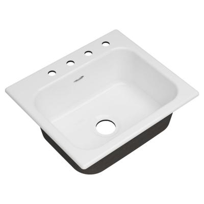 Quince Drop-in Cast Iron 25 in. 4-Hole Single Bowl Kitchen Sink in Brilliant White