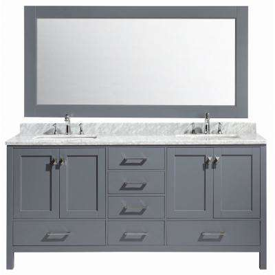 London 72 in. W x 22 in. D x 36 in. H Vanity in Gray with Marble Vanity Top in Carrara White, Basin and Mirror