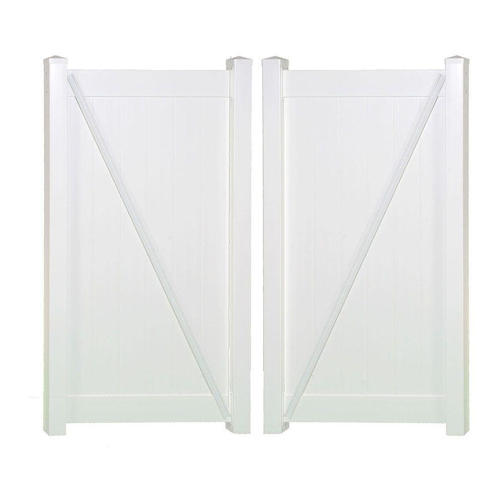 Weatherables Savannah 7.4 ft. W x 6 ft. H White Vinyl Privacy Double Fence Gate Kit