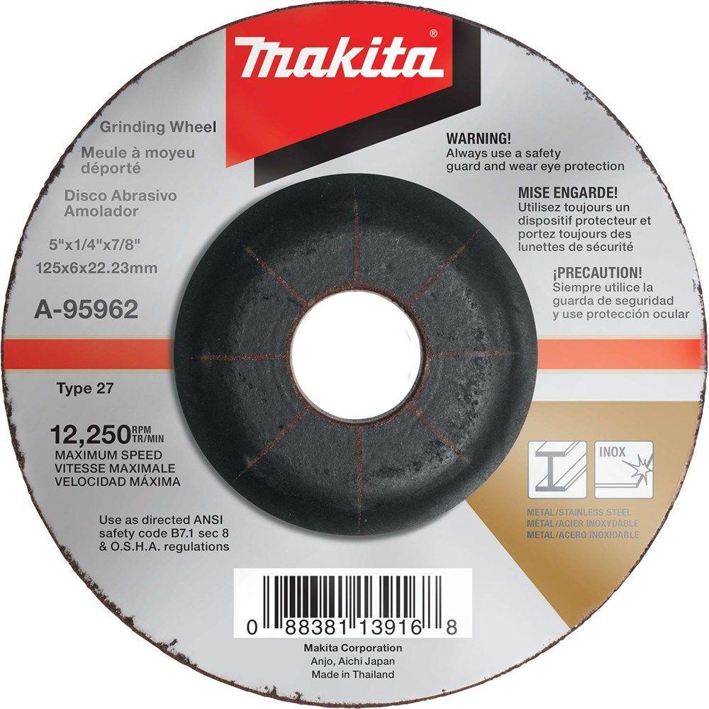 5 in. x 1/4 in. x 7/8 in. 36-Grit INOX Grinding Wheel