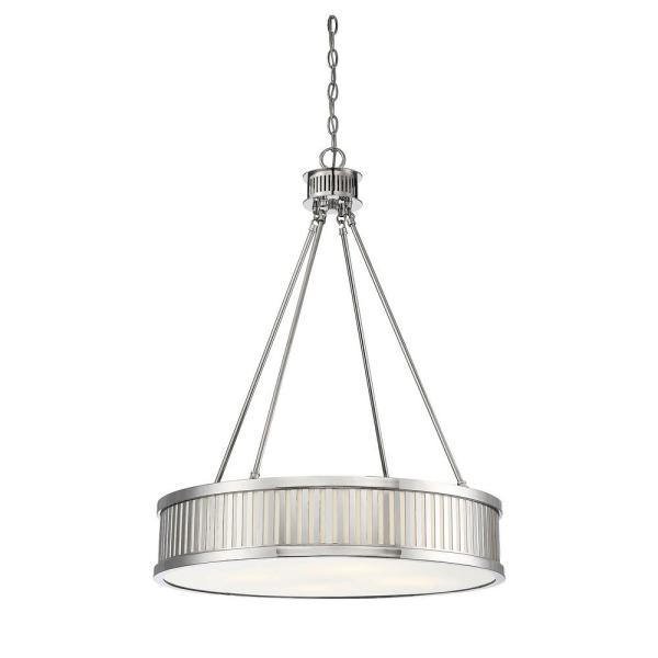 4-Light Polished Nickel Pendant with Frosted Glass