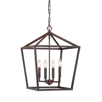 4-Light 16 in. Wide Rubbed Bronze Taper Candle Pendant