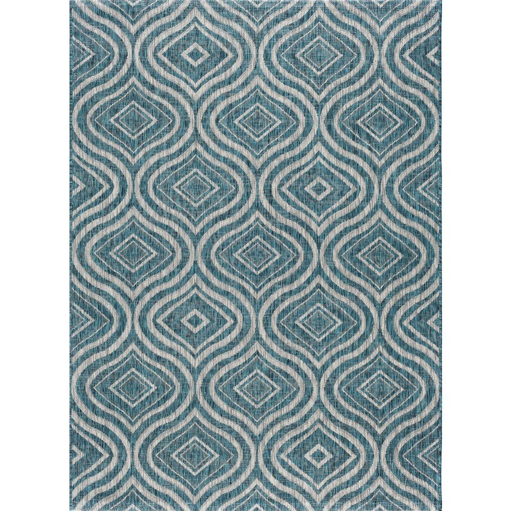 tayse rugs veranda aqua 8 ft x 10 ft indoor outdoor area rug vnd1719 8x10 the home depot. Black Bedroom Furniture Sets. Home Design Ideas