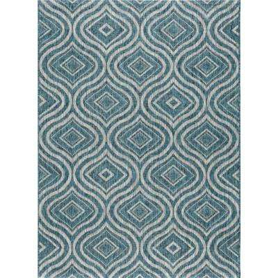 Veranda Aqua 8 ft. x 10 ft. Indoor/Outdoor Area Rug