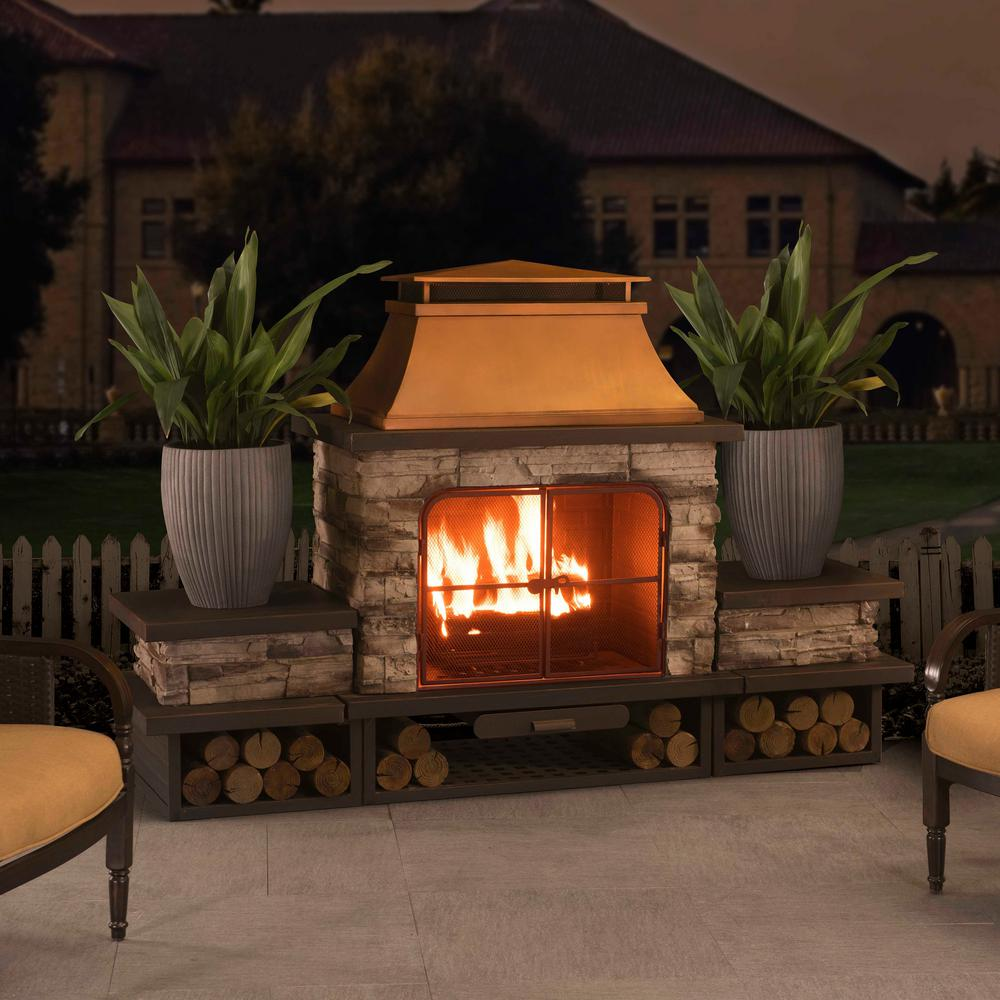 Sunjoy Bel Aire 51.97 in. Wood Burning Outdoor Fireplace ...