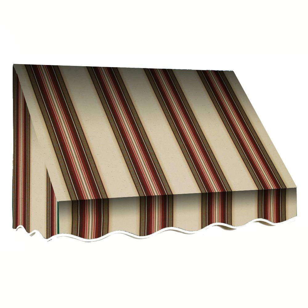 AWNTECH 5 ft. San Francisco Window/Entry Awning (56 in. H x 36 in. D) in Brown/White Stripe, Brown/Terracotta