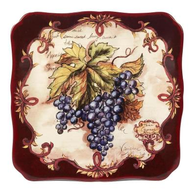 Vintners Journal Multi-Colored 12.5 in. Ceramic Square Platter