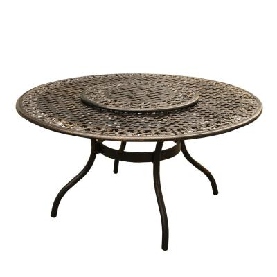 Ornate Traditional 59 in. Round Aluminum Outdoor Dining Table Mesh Lattice in Bronze with Lazy Susan