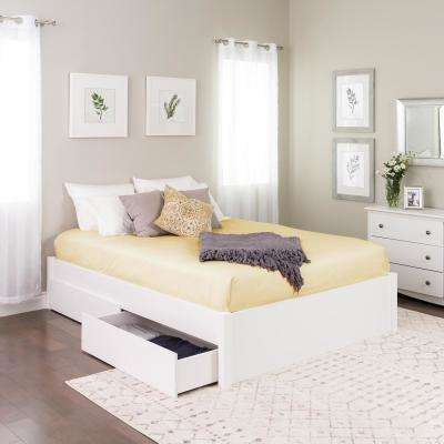 Select White Queen 4-Post Platform Bed with 4-Drawers