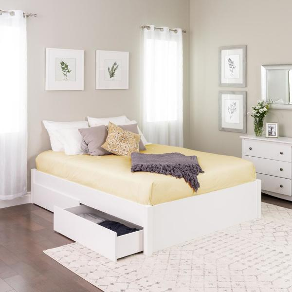 Prepac Select White Queen 4 Post, White Queen Platform Bed With Drawers
