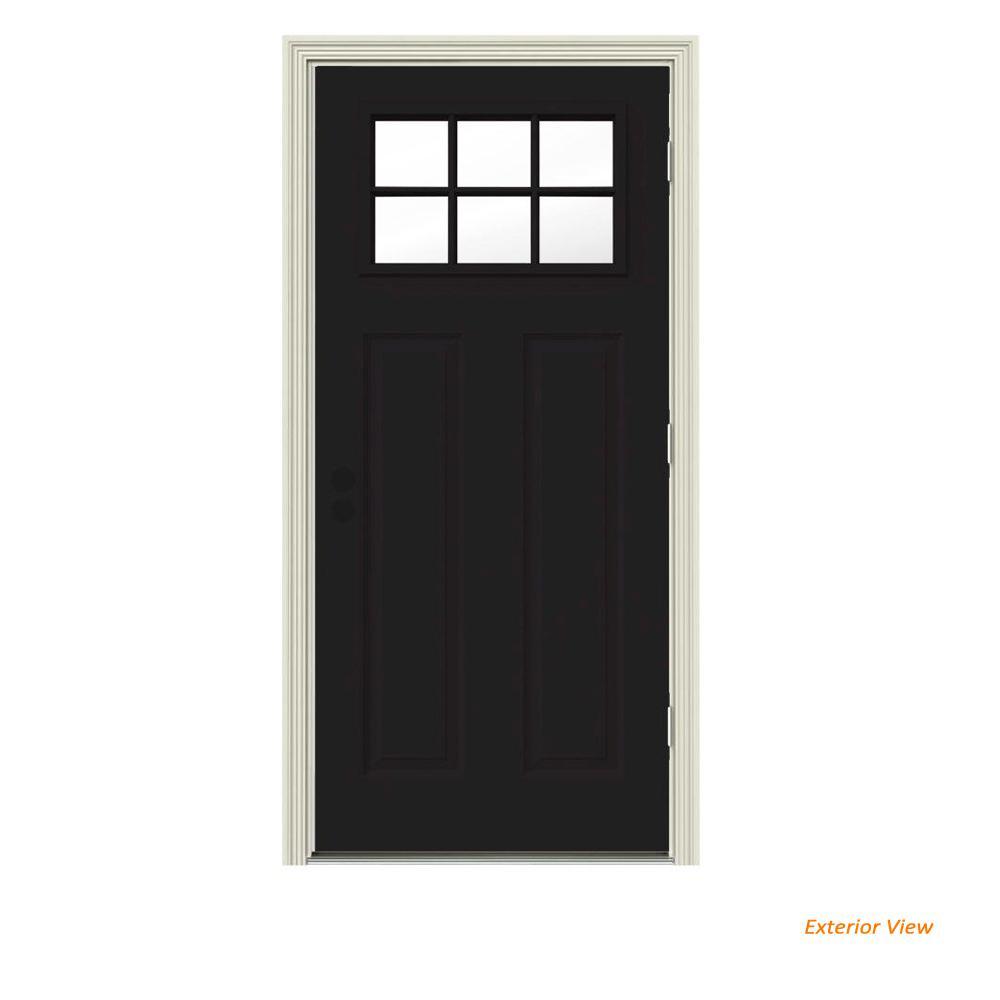 32 in. x 80 in. 6 Lite Craftsman Black Painted Steel Prehung Left-Hand Outswing Front Door w/Brickmould