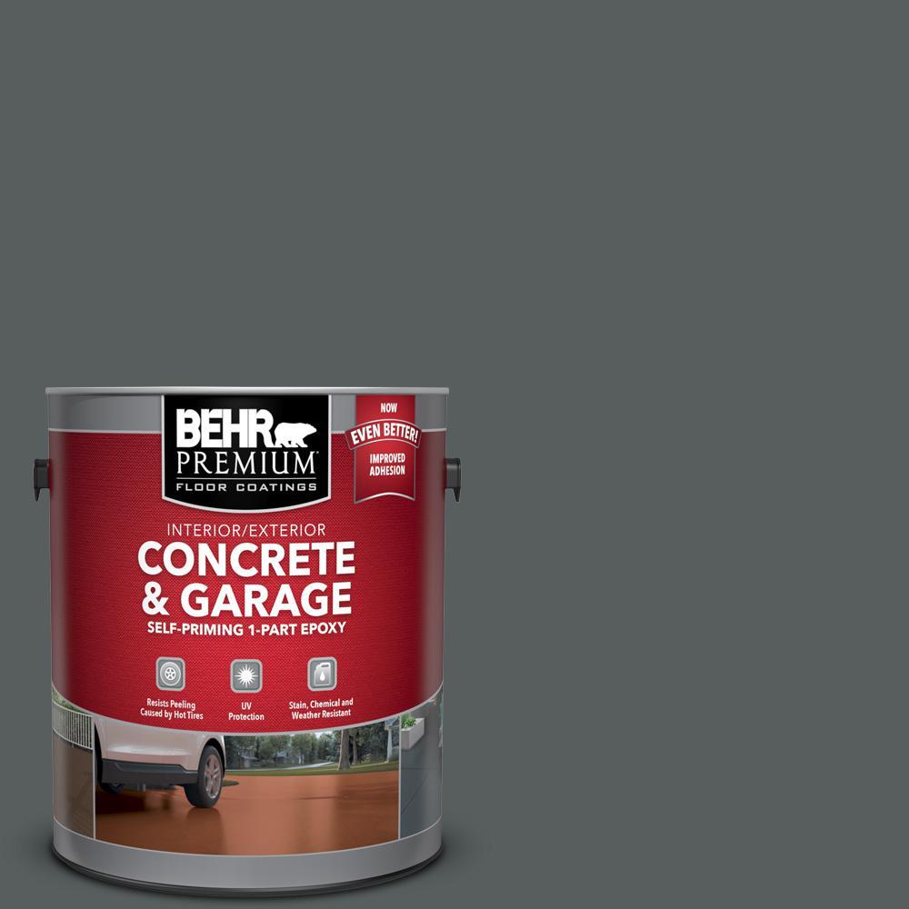 BEHR Premium 1 gal. #N500-6 Graphic Charcoal Self-Priming 1-Part Epoxy Satin Interior/Exterior Concrete and Garage Floor Paint