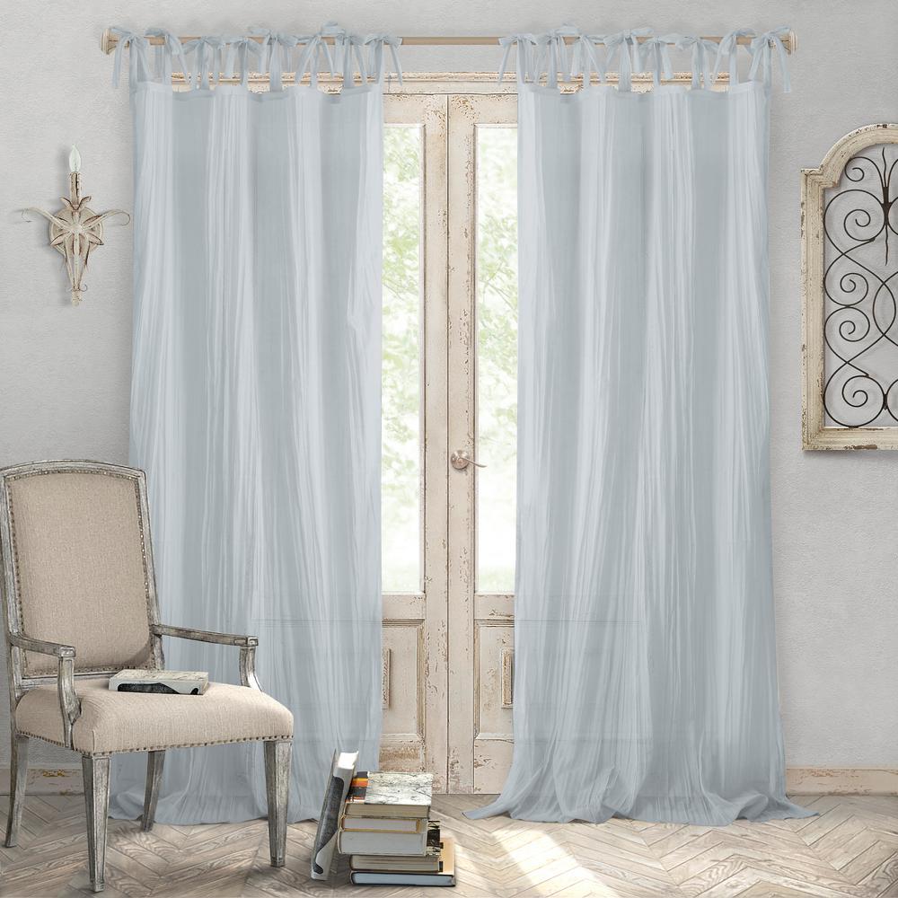 Jolie Soft Blue Crushed Semi Sheer Tie Top Window Curtain - 52 in. W x 108 in. L