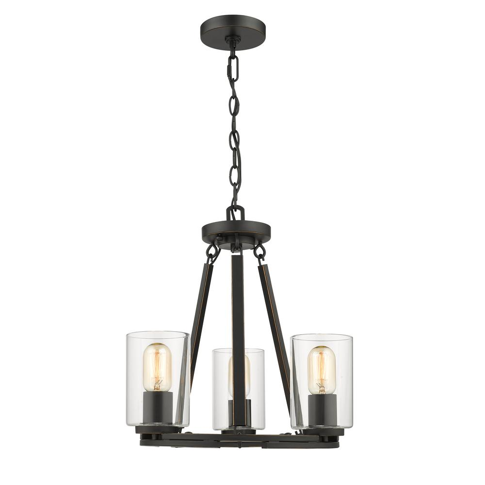 Monroe Convertible 3 Light Black with Clear Glass Chandelier