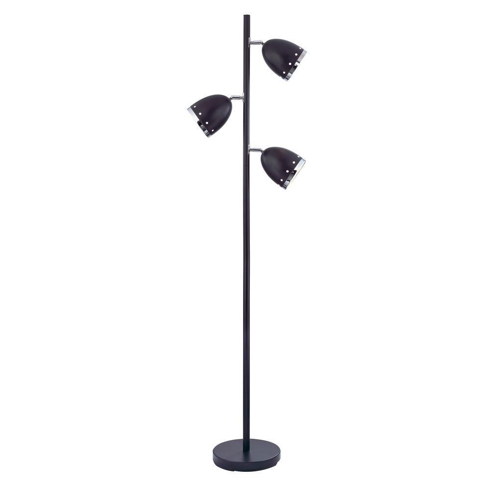 Matte Black 3-Light Floor Lamp-46192-21 - The Home Depot