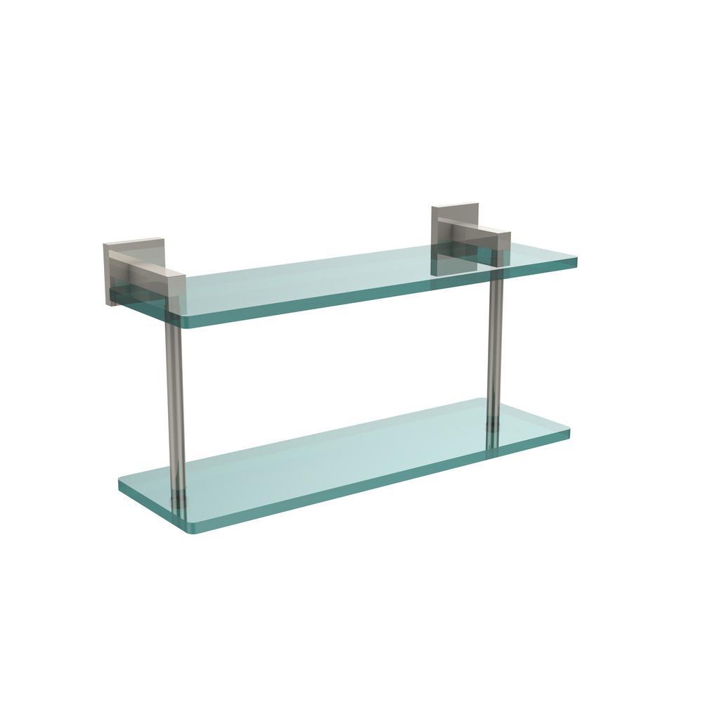 Montero 16 in. L  x 8-1/4 in. H  x 5-3/4 in. W 2-Tier Clear Glass Bathroom Shelf in Polished Nickel