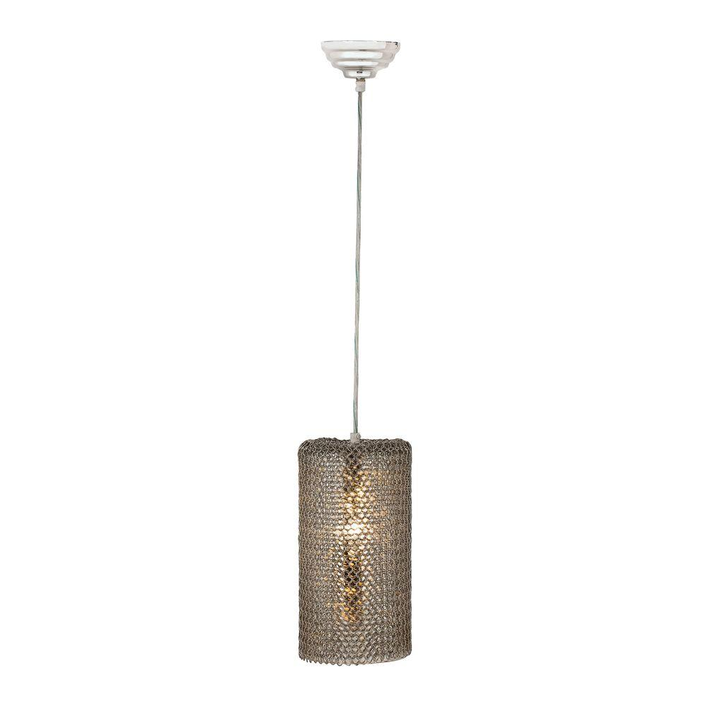 Titan Lighting Chain Mail 1-Light Pendant in Clear and Me...