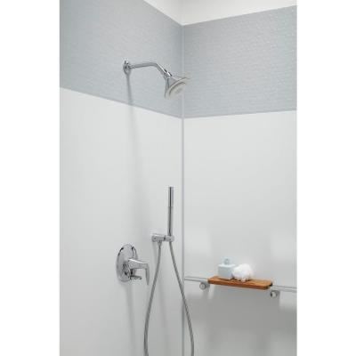 Moxie 1-Spray 5 in. Single Wall Mount Fixed Shower Head in Polished Chrome