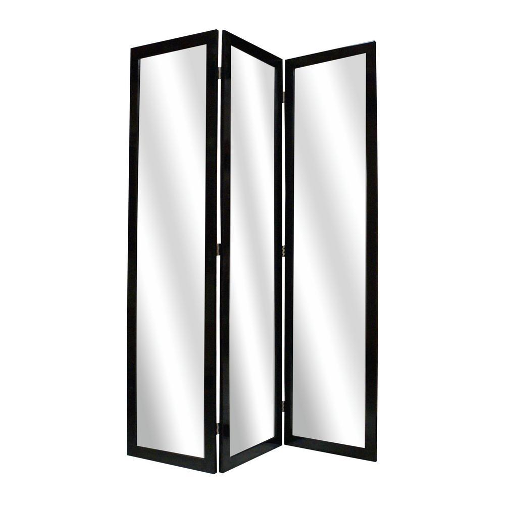MIRRIOR 5.5 ft. Black 3-Panel Room Divider