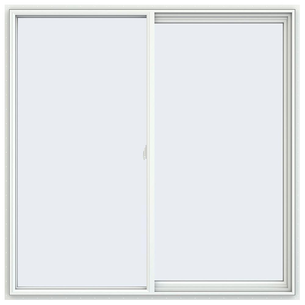 59.5 in. x 59.5 in. V-2500 Series White Vinyl Right-Handed Sliding Window with Fiberglass Mesh Screen