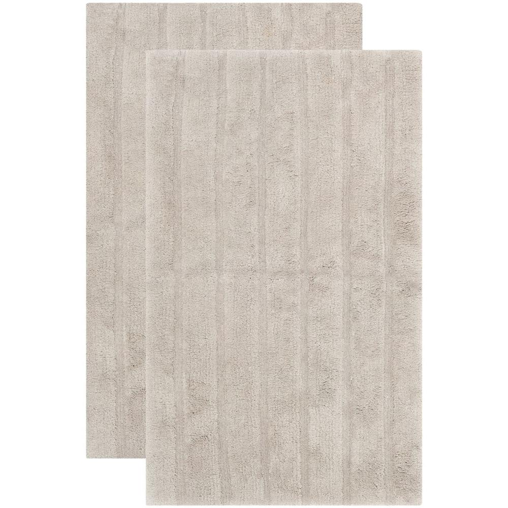 Safavieh Plush Master Bath Grey 2 ft. 3 in. x 3 ft. 9 in. 2-Piece Rug Set