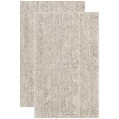 Plush Master Bath Grey 2 ft. 3 in. x 3 ft. 9 in. 2-Piece Rug Set