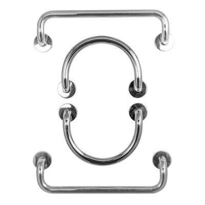 12 in. Circle Grab Bars in Polished Stainless Steel and 20 in. Dual Bent Grab Bars in Polished Stainless Steel