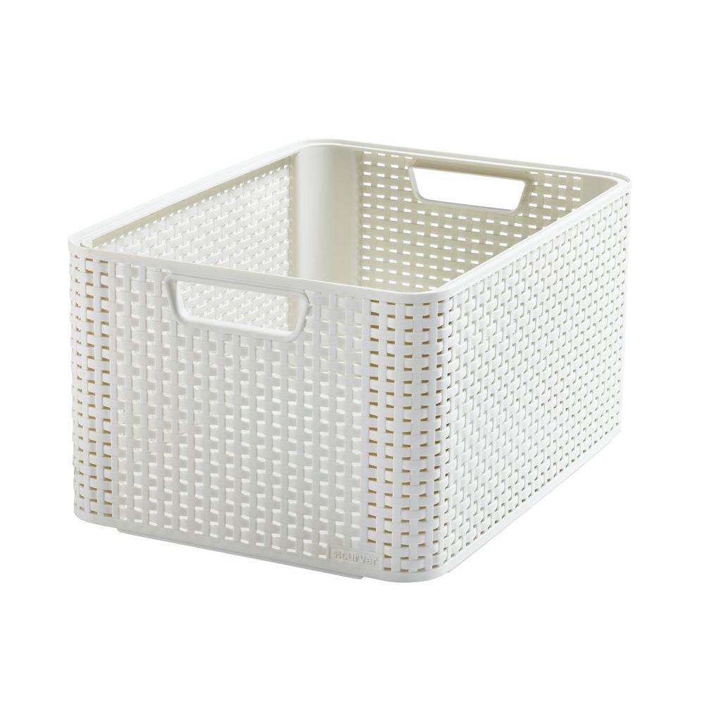 curver style 8 gal rattan storage tote in cream 3 pack. Black Bedroom Furniture Sets. Home Design Ideas