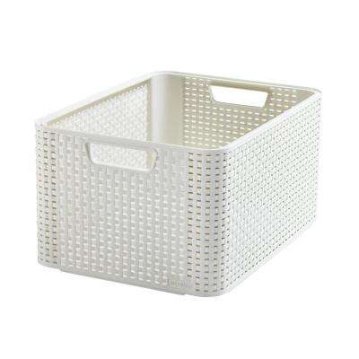 Style 8-Gal. 17.165 in. x 9.055 in. Rattan Storage Tote Bin in Cream (3-Pack)