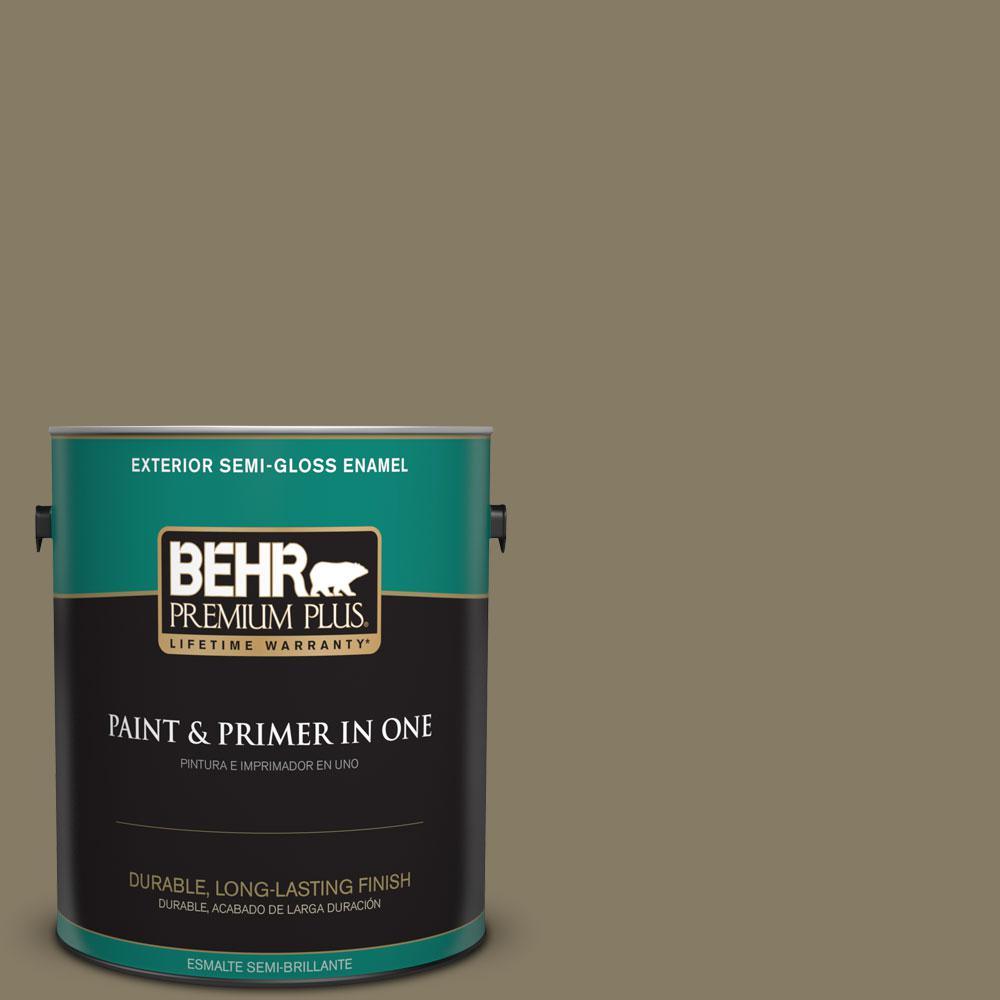 1-gal. #ECC-55-3 Olive Sprig Semi-Gloss Enamel Exterior Paint