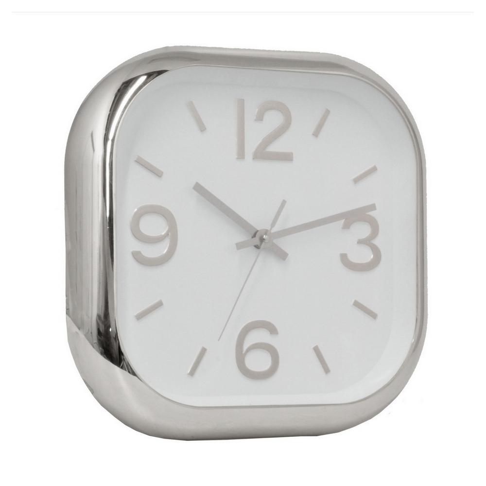 12 in. Polyurethane Silver Wall Clock