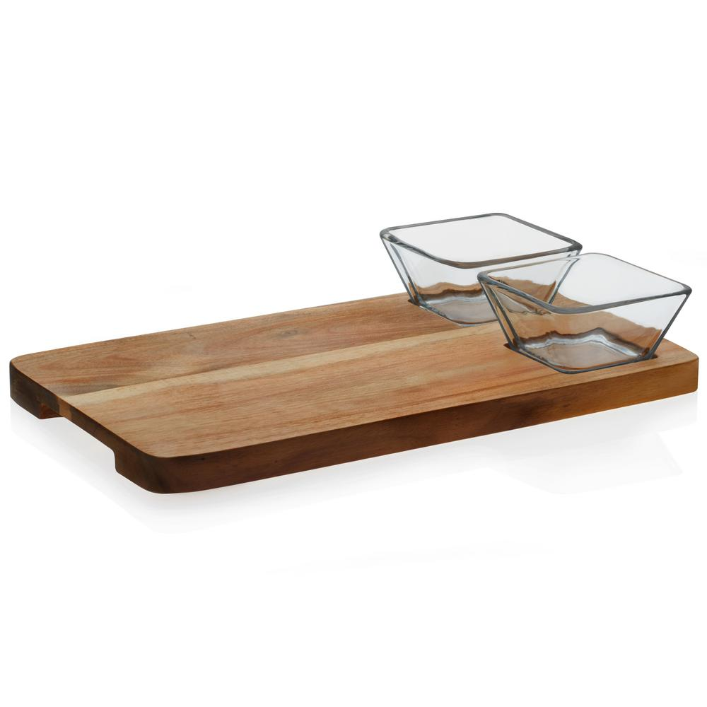 Acaciawood 2-Piece Glass Dipping Bowl Set with Wood Serving Board