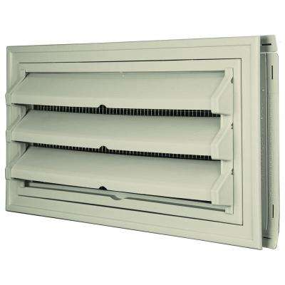 9-3/8 in. x 17-1/2 in. Foundation Vent Kit with Trim Ring and Optional Fixed Louvers (Galvanized Screen) #089 Champagne