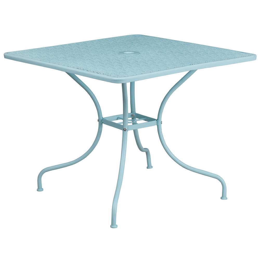 Flash Furniture Blue Square Metal Outdoor Bistro Table