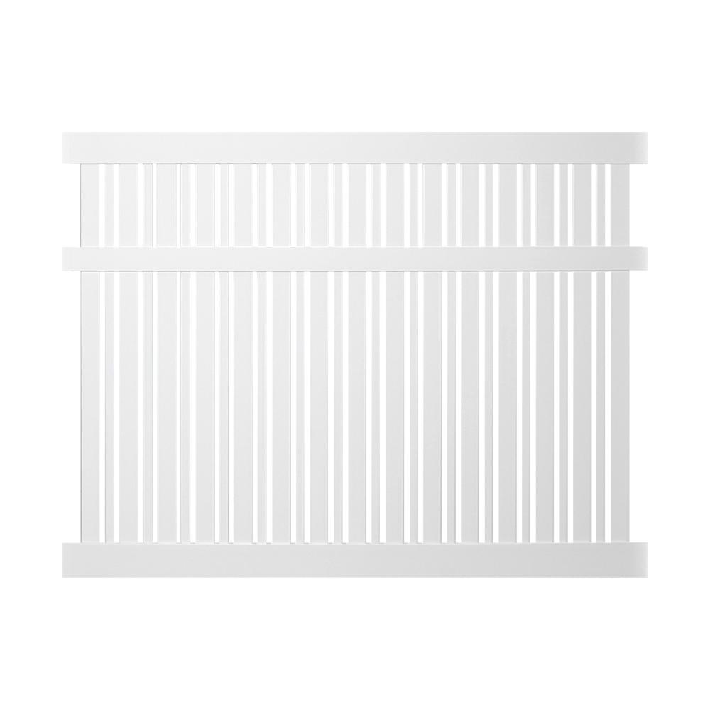 Weatherables Weatherables Davenport 5 ft. H x 8 ft. W White Vinyl Semi-Privacy Fence Panel Kit