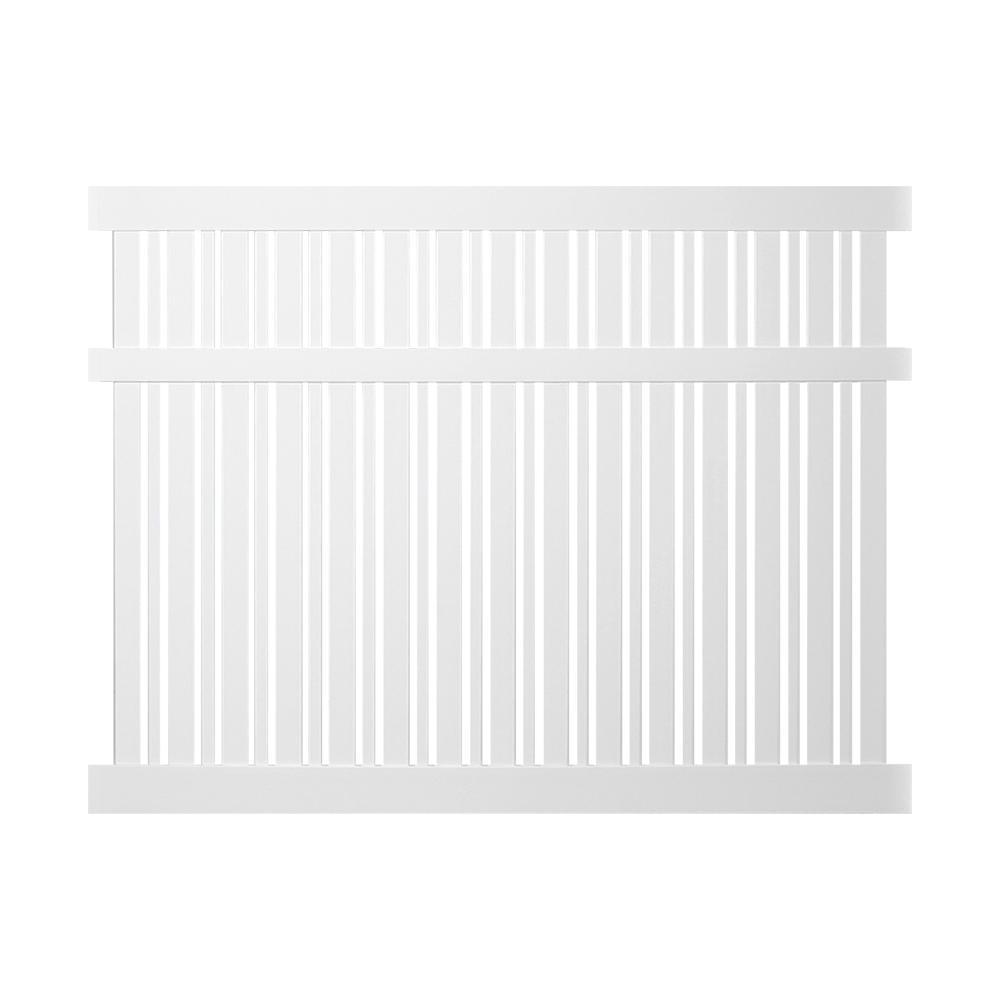 Davenport 6 ft. H x 6 ft. W White Vinyl Semi-Privacy Fence Panel Kit