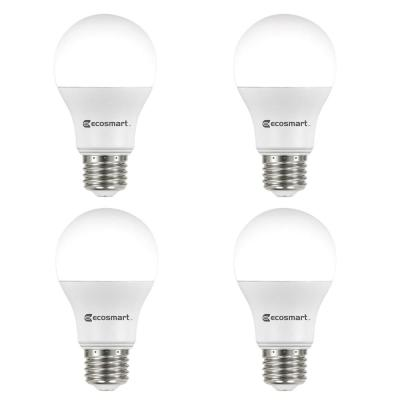 60-Watt Equivalent A19 Non-Dimmable LED Light Bulb Soft White (4-Pack)