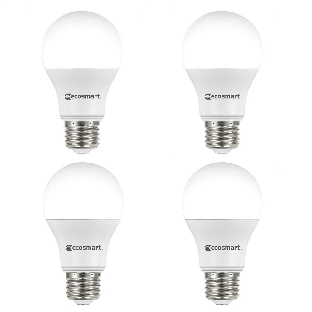 60-Watt Equivalent A19 Non-Dimmable LED Light Bulb Soft White (4-Pack)
