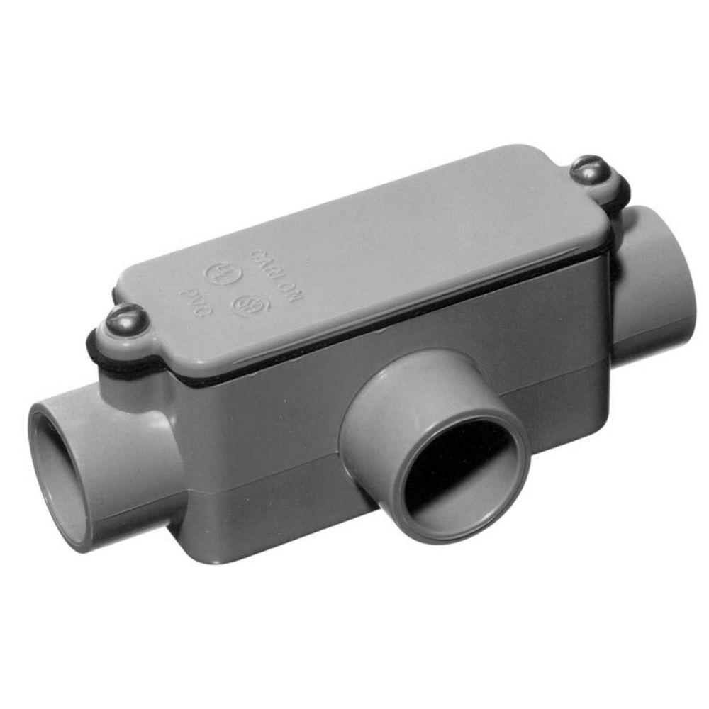 1/2 in. PVC Type-T Conduit Body (Case of 8)